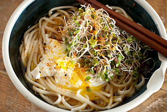 Udon noodles with poached egg & red radish sprouts
