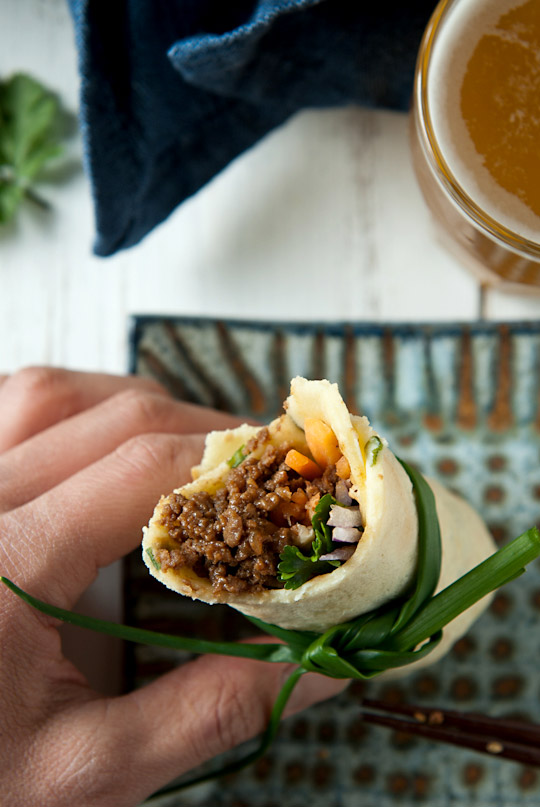 chive crêpes with miso flavoured ground beef