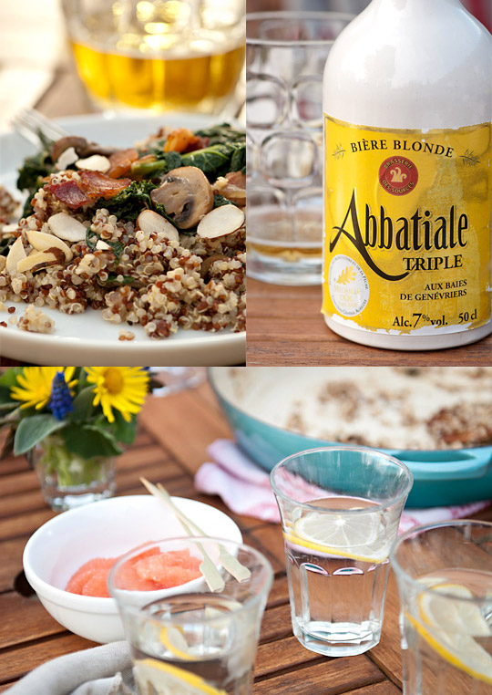 Sautéed kale and quinoa salad with French beer