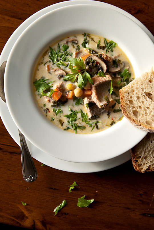 Lovage salmon chowder