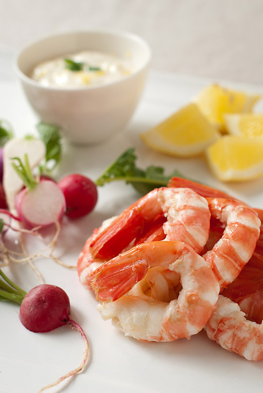 cooked spot prawns, radish and lemon aioli