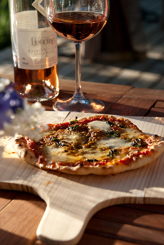 pizza and a glass of rosé