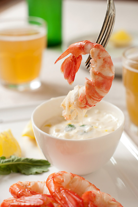 spot prawns and lemon aioli