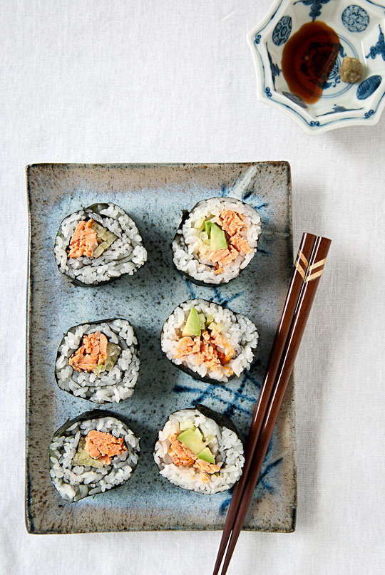 broiled salmon sushi