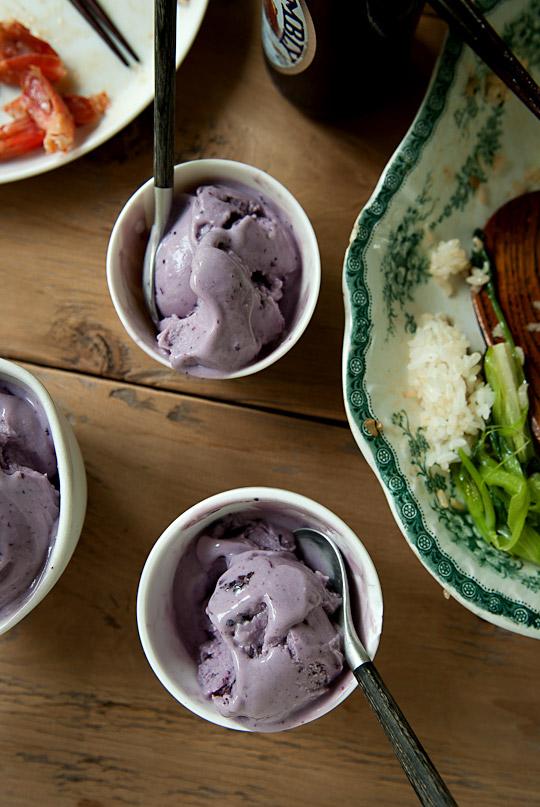 French vanilla and blueberry frozen yogurt