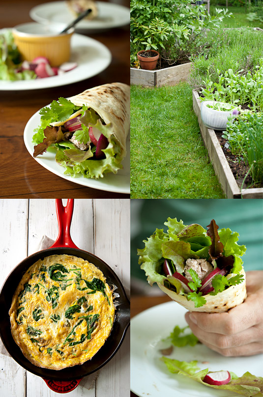 fish pate crepe, the garden and spinach frittata