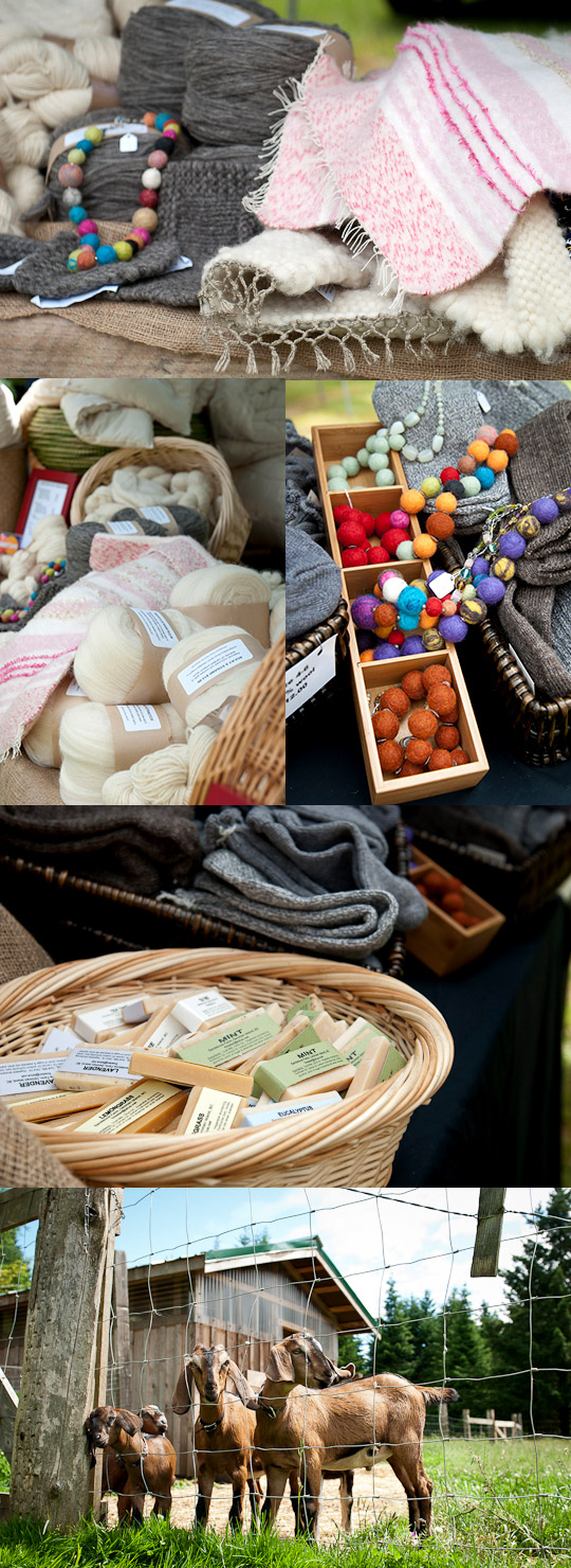 Wool products from Sandstone Farm at a farmer's market