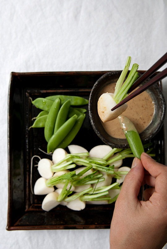 turnips and snap peas served with goma ae vinegar sauce