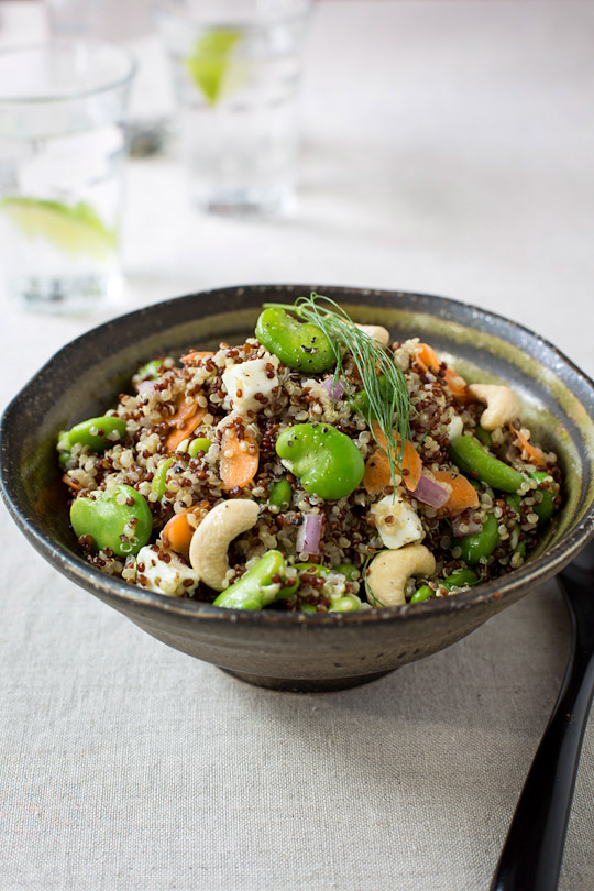 quinoa salad with broad beans
