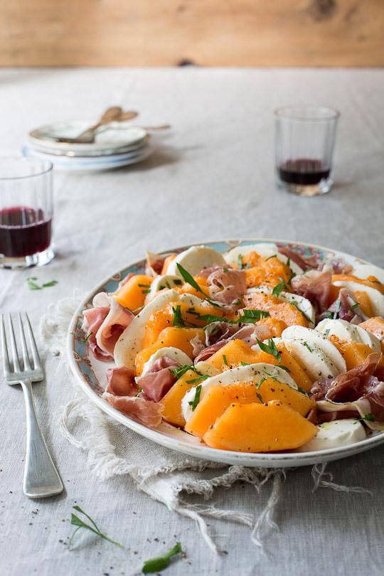 cantaloupe, prosciutto & bocconcini salad