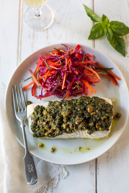 Halibut with Genoves basil pesto and red cabbage carrot salad