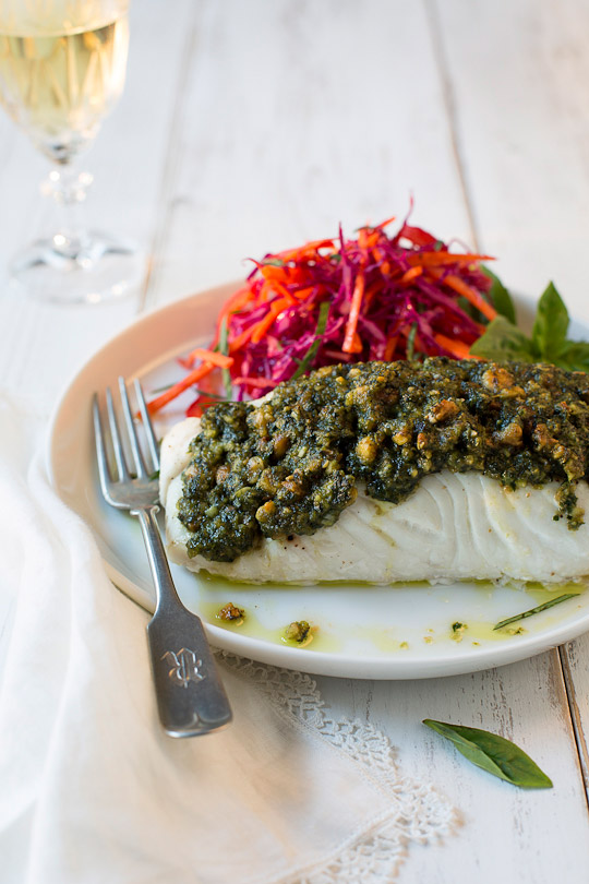 Halibut with Genovese pesto and red cabbage carrot salad