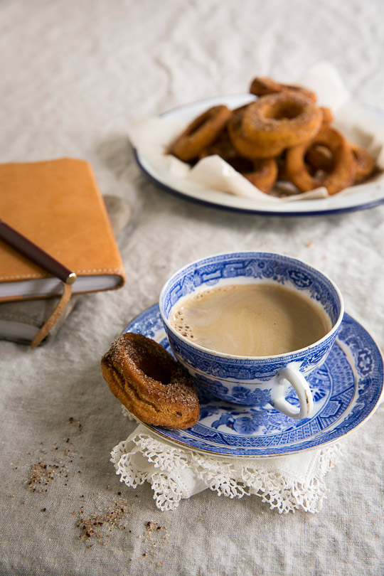 pumpkin doughnuts and coffee