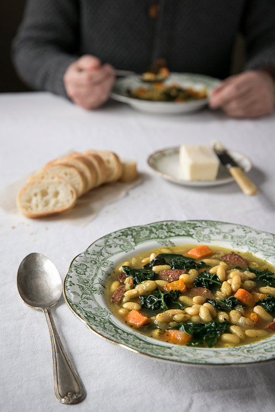 kale & great northern bean soup