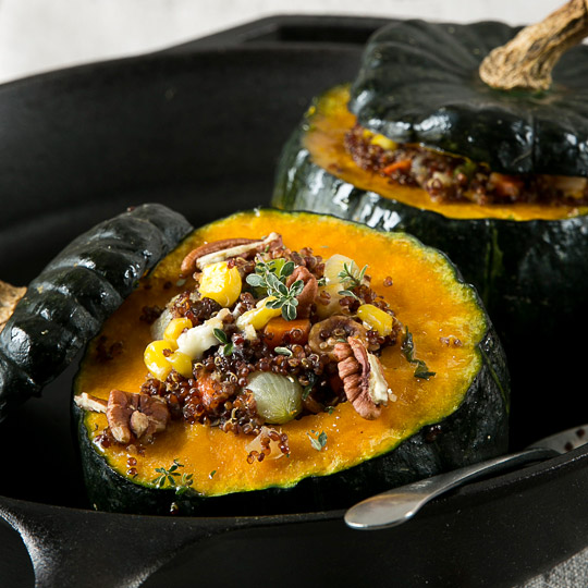 stuffed kabocha with quinoa