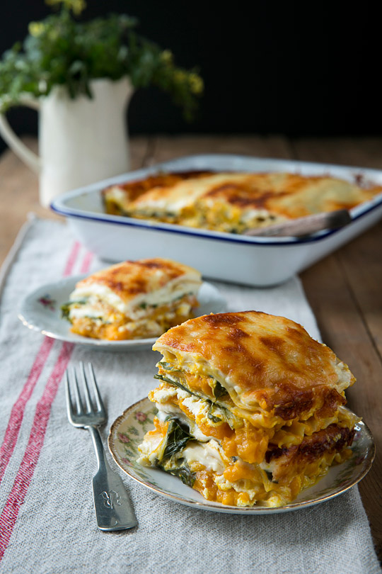 double-stacked lasagna with pumpkin and sage infused Béchamel sauce