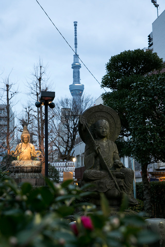 The view of the old and the new at Senso ji