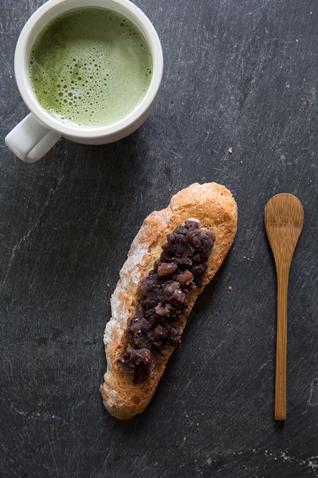 matcha latte and toast with Azuki bean paste